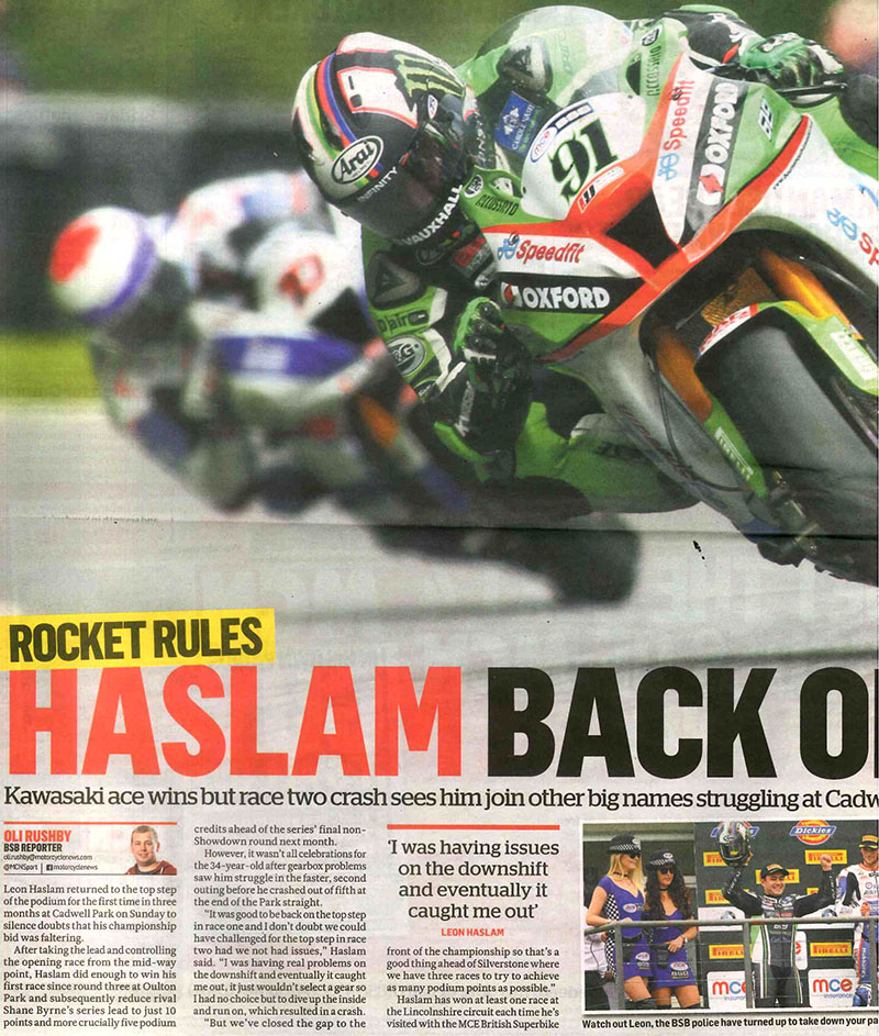 Haslam's Back On Top – MCN'S BSB Round 8 round up