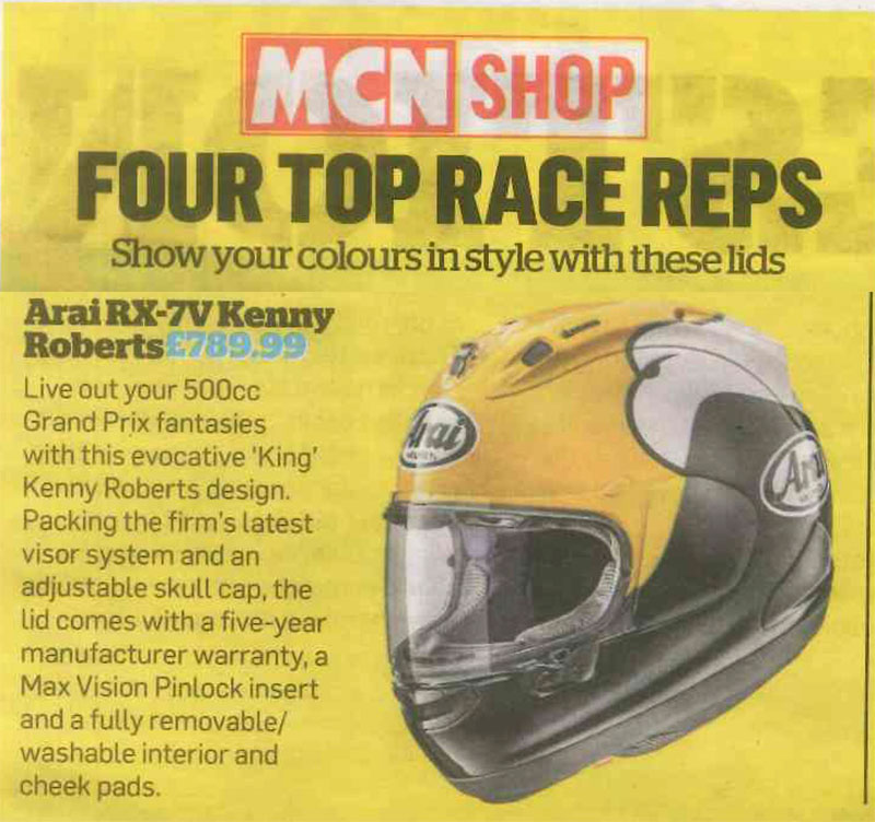 Arai's Kenny Roberts helmet voted one of the best replicas