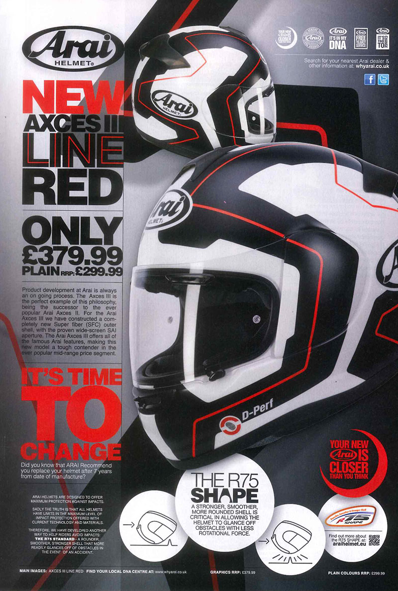 New Arai Axces 3 in Line Red ad