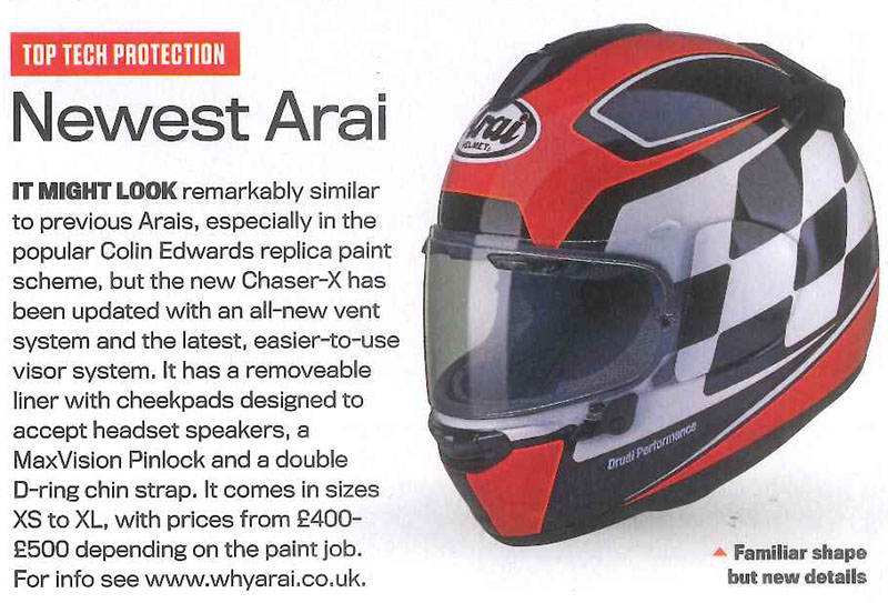 Arai Chaser-X helmet has great review in Ride Magazine