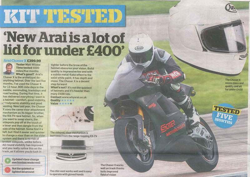 MCN test the Arai Chaser X helmet