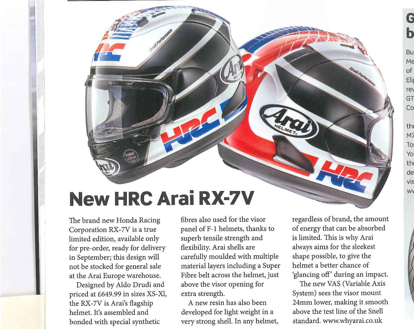 05441064 Motorcycle Sport and Leisure show Arai RX-7V HRC. The limited edition ...