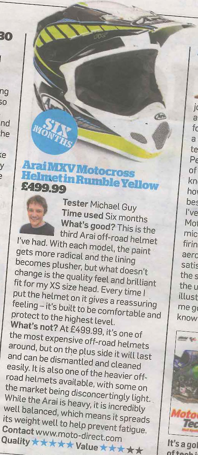 MCN review the Arai MX V off road helmet