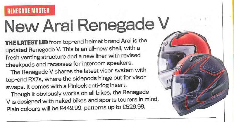 Arai's latest lid featured in Ride magazine