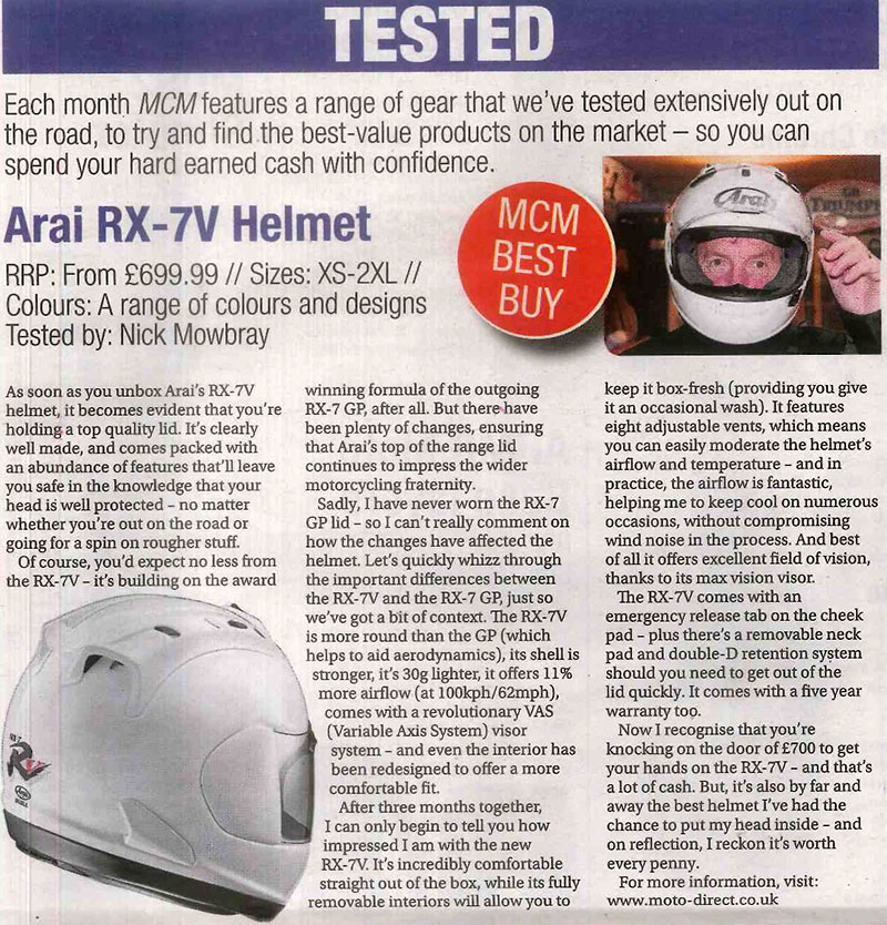 Motorcycle Monthly Test the Arai RX-7V Helmet